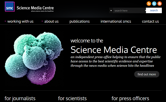 (Photo credit: Screenshot der Internetseite des Science Media Centre / meta-magazin.org)